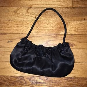 Black Satin Evening Purse with Roses Detail